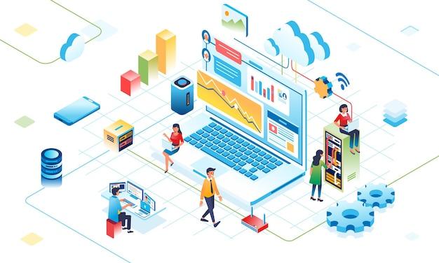 클라우드에서 일하는 사람들의 인터넷 은유에 대한 클라우드 디지털 활동의 아이소메트릭 그림