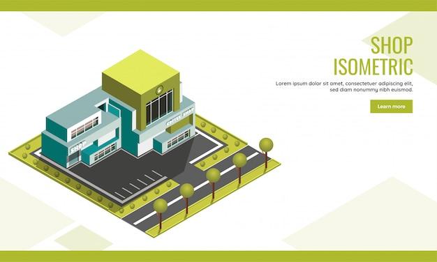 ショップランディングページまたはwebバナーデザインのショップの建物と庭の庭の背景を持つコーヒーセンターの等角投影図。