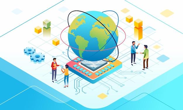 데이터 통신 및 인터넷 연결에 대한 아이소메트릭 그림 아래에 칩 보드가 있는 큰 지구와 사람들이 서로 이야기합니다.
