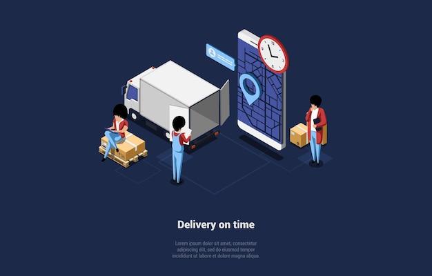 時間の概念の配信の等角図。漫画の3dスタイルの構成