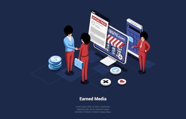 적립 또는 소유 미디어 개념의 아이소 메트릭 그림.