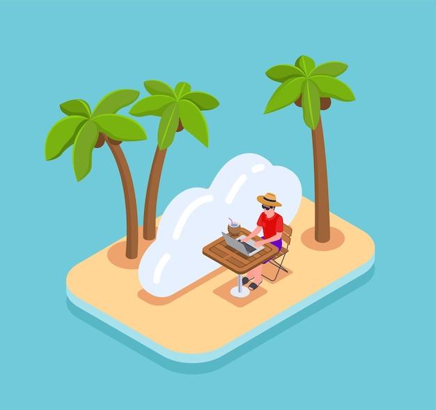 手のひらでビーチに座ってラップトップでリモートで作業する男の等角図