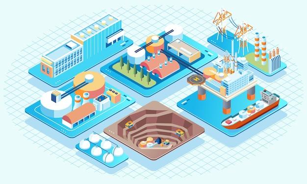 석유 광산 회사 복잡한 근해 석유 채굴의 아이소메트릭 그림