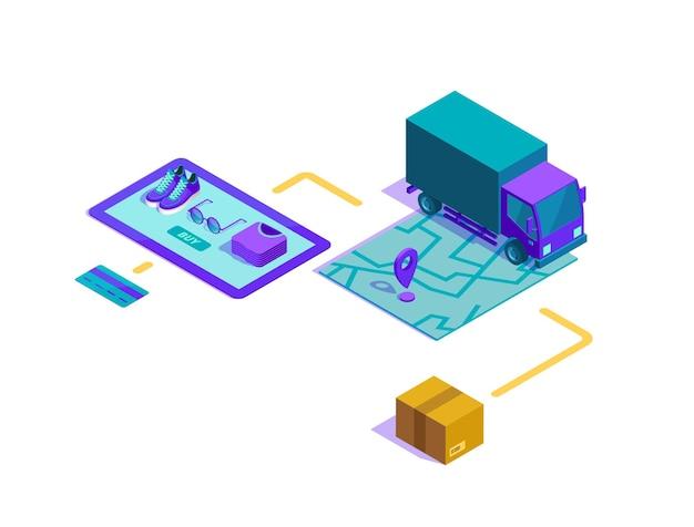 Изометрическая иллюстрация процесса покупок в интернете