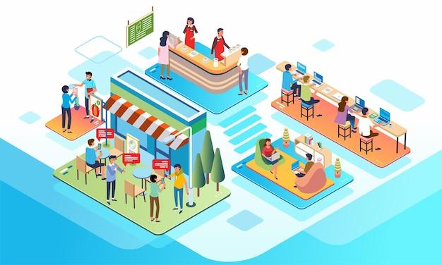 Изометрическая иллюстрация людей, работающих и тусовок в кафе и совместной работе