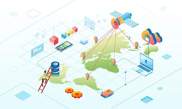 클라우드 데이터베이스에서 위성 데이터 네트워크 연결의 아이소메트릭 그림