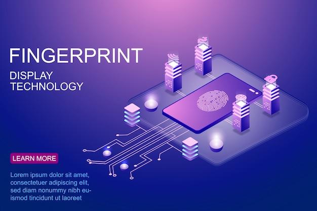 安全技術のランディングページのベクトル図の広告の指紋スキャンによって保護されているスマートフォンの等角投影図