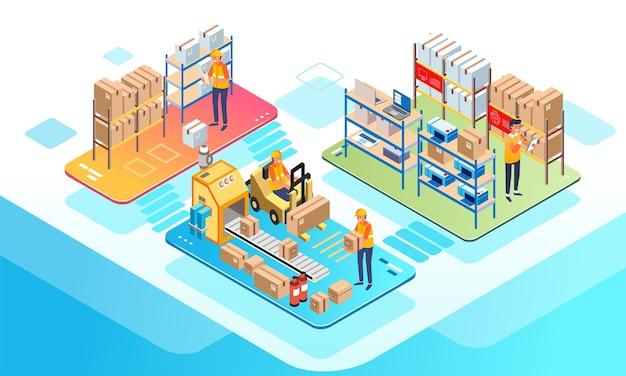 Изометрическая иллюстрация складского работника, проверяющего запасы товаров и сортирующего их для доставки