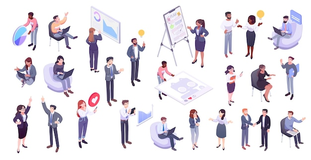 Isometric illustration of office workers and business people business management