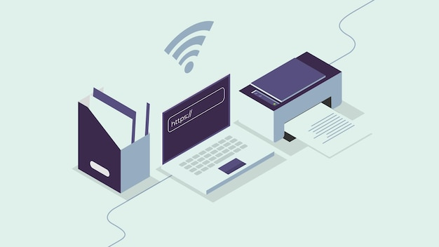 Isometric illustration of office workspace