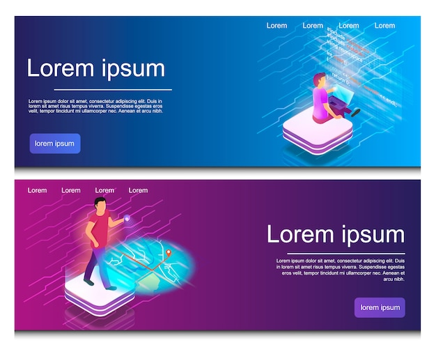 Isometric illustration an online map, writing code