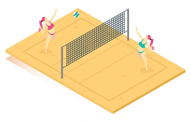 Isometric illustration playing beach volleyball