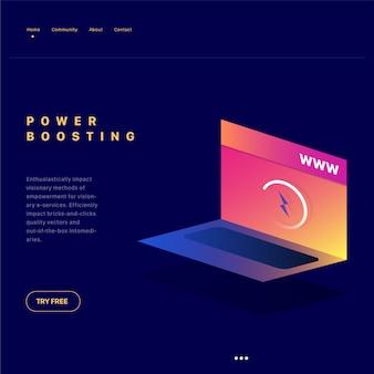 Isometric illustration for power boosting
