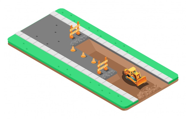 Isometric illustration of repair of asphalt road