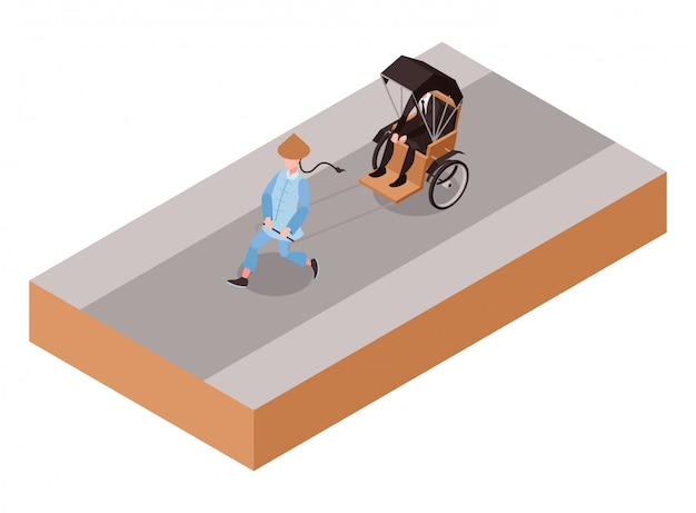 Isometric illustration representing chinese traditional pulled rickshaw or cart crossing on a street