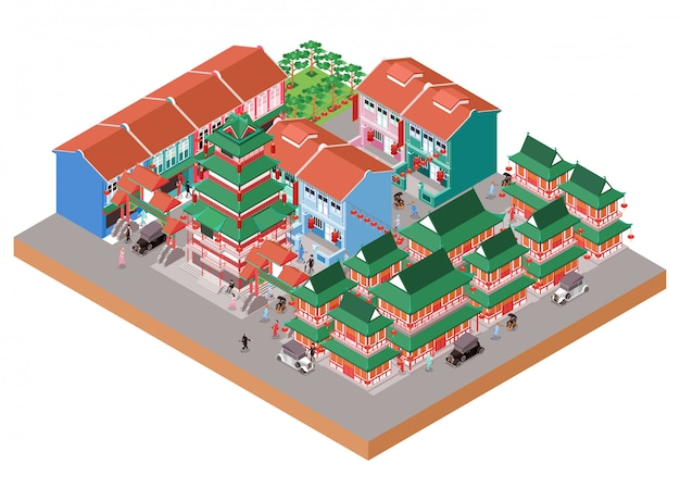 Isometric illustration representing old chinese temple area in china town with traditional and colonial buildings