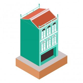 차이나 타운 지역에서 상점으로 오래 된 클래식 식민지 스타일 녹색 건물을 나타내는 아이소 메트릭 그림