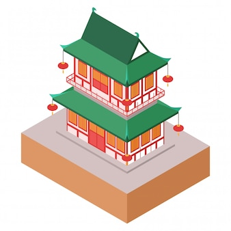 Isometric  illustration representing old classic traditional chinese building with lamps in yuyuan park, shanghai