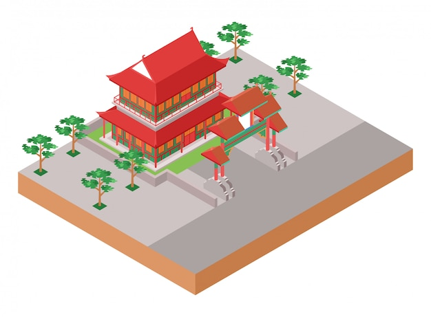 Isometric  illustration representing old traditional chinese red temple with gate and park at its sides