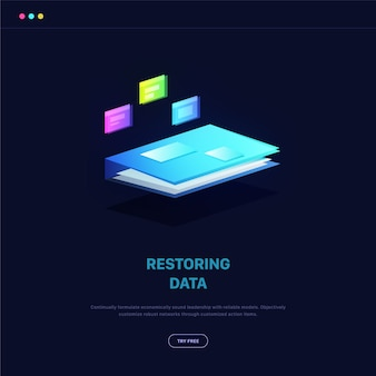 Isometric illustration for restoring data