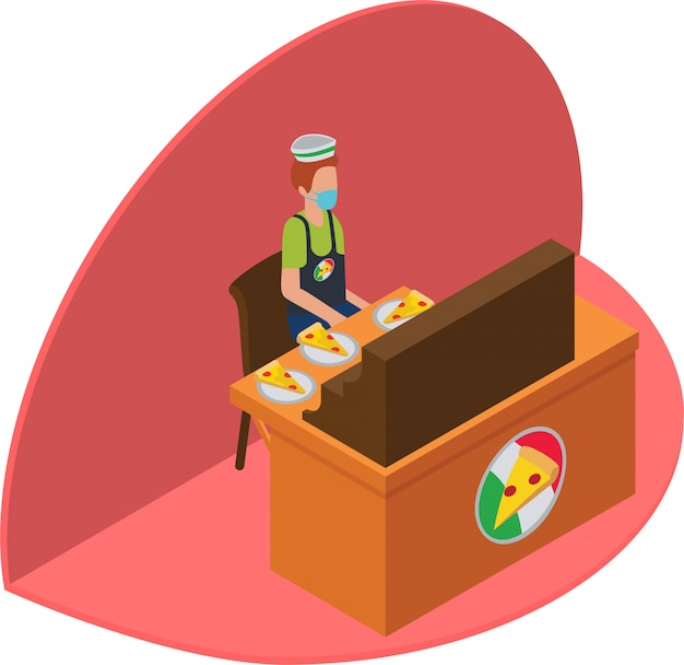 Isometric illustration of sales man selling pizza