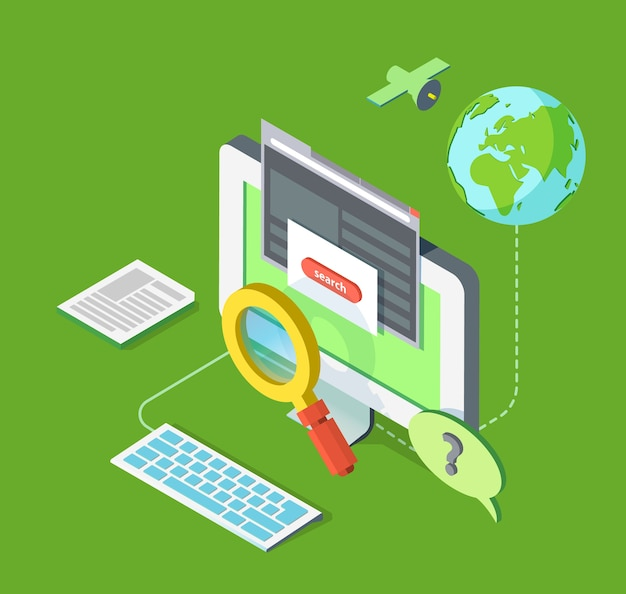 Isometric illustration of searching on web