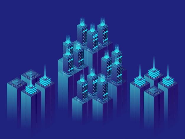 Isometric illustration  server room data center