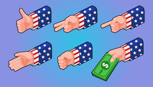 Isometric illustration, set of gestures hands with american flag