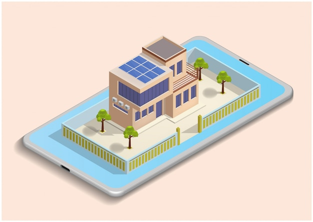 Isometric illustration of smart house