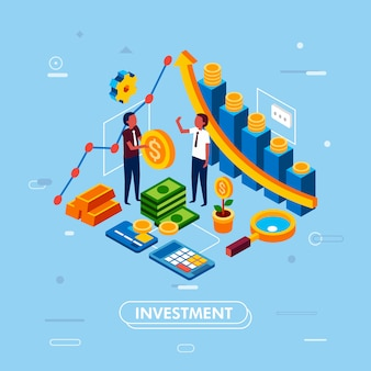 Isometric illustration of smart investment