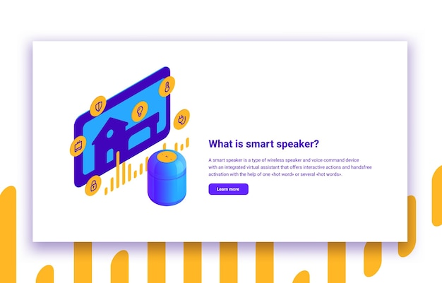 Isometric illustration of smart speaker and home automation digital voice assistant