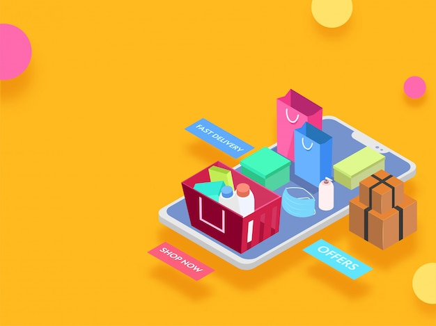 Isometric illustration of smartphone with parcel boxes, carry bag and purchase product in basket for online shopping concept.