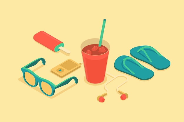 Isometric illustration of summer time objects