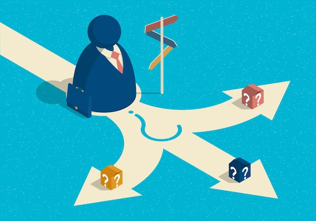 Isometric illustration on the theme of choice way with abstract businessman
