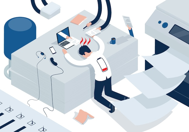 Isometric illustration on the theme of stress at work. emotional burnout man with low battery.