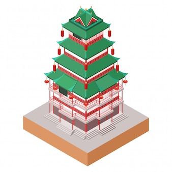 Isometric  illustration of traditional chinese architectural building in yuyuan garden, old city of shanghai