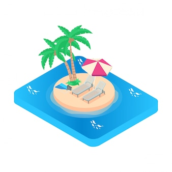 Isometric illustration vacation icon. turquoise sea