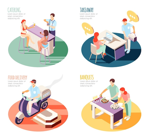 Isometric illustration of various ways of getting food
