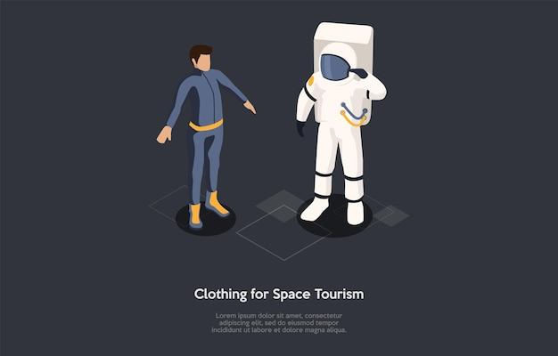 아이소메트릭 그림입니다. 벡터 만화 스타일 구성, 3d 디자인입니다. 어두운 배경에 문자, 쓰기 및 요소. 우주 관광 의류, 우주 여행 보호복을 입은 사람들, 인포그래픽.