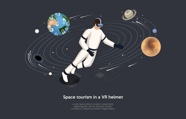 Isometric illustration. vector cartoon style composition, 3d design. characters, writing and elements on dark background. vr helmet space tourism, astronaut training, spaceman interactive education.