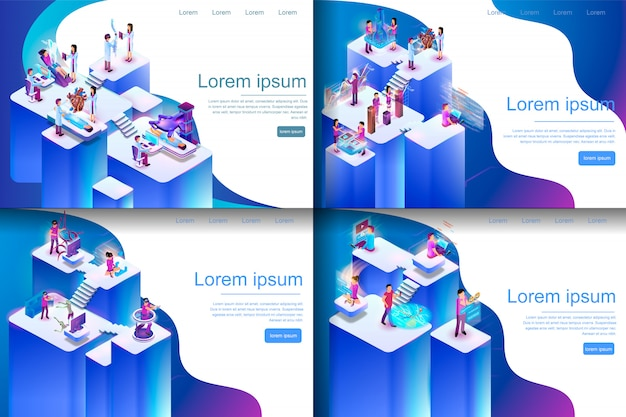 Isometric illustration virtual reality processes