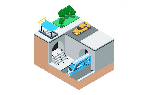 Isometric illustration of the way the subway-