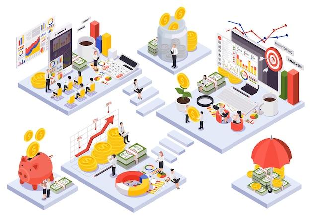 Illustrazione isometrica di temi di gestione patrimoniale