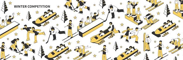 Изометрическая иллюстрация со спортсменами, участвующими в соревнованиях по зимним видам спорта 3d
