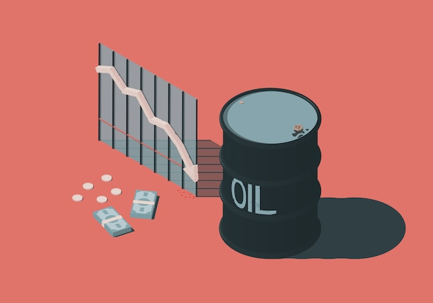 Isometric illustration with barrel, money and diagram on the theme of falling oil prices.