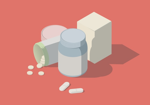 Isometric illustration with bottles and pills.