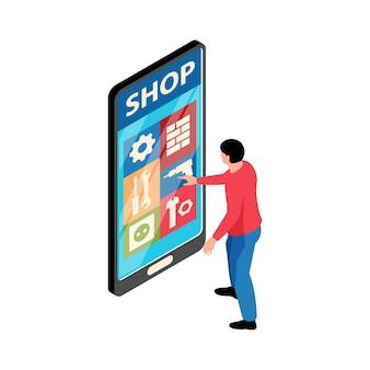 Illustrazione isometrica con personaggio che fa shopping online su smartphone 3d