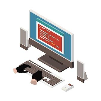 Изометрическая иллюстрация с руками хакера в перчатках, пытающихся получить личную информацию на компьютере
