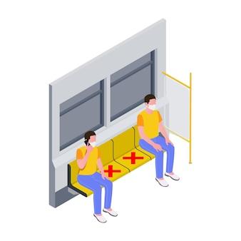 Изометрическая иллюстрация с людьми, сохраняющими социальную дистанцию в метро 3d