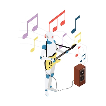 Isometric illustration with robot playing guitar